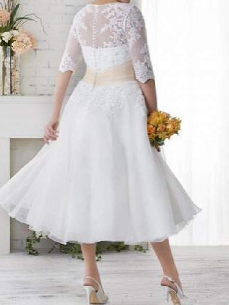 Ball Gown A-Line Wedding Dresses Scoop Neck Tea Length Lace Tulle Half Sleeve Country Plus Size_2