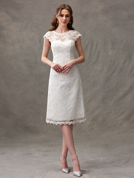 A-Line Wedding Dresses Jewel Neck Knee Length Floral Lace Cap Sleeve Casual See-Through Backless_1