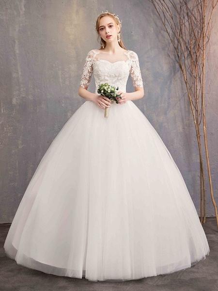 Ball Gown Wedding Dresses Sweetheart Neckline Floor Length Lace Tulle Half Sleeve Glamorous See-Through Illusion Sleeve_2