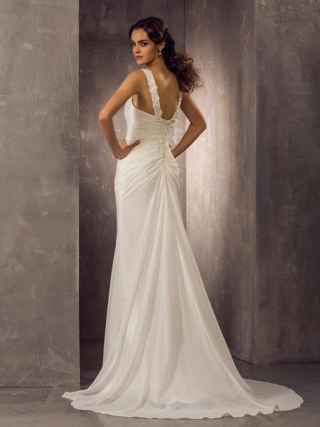Sheath \ Column Wedding Dresses Sweetheart Neckline Sweep \ Brush Train Chiffon Regular Straps_2
