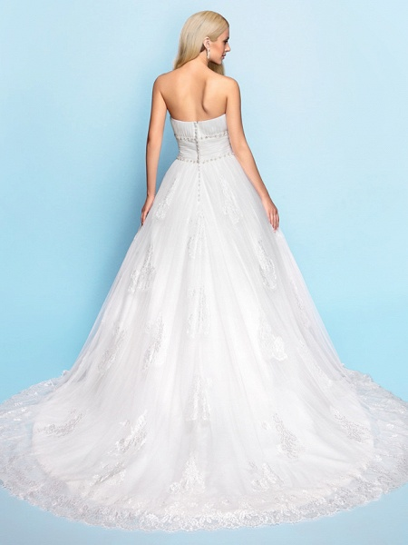 Ball Gown Wedding Dresses Strapless Court Train Organza Tulle Sleeveless_4