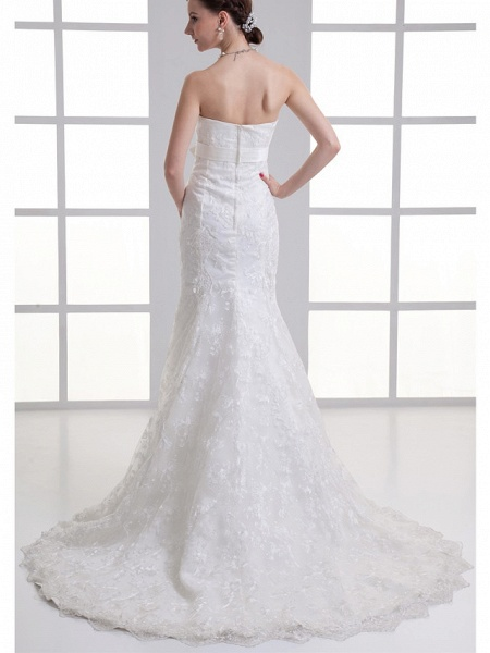 Mermaid \ Trumpet Sweetheart Neckline Chapel Train Lace Satin Strapless Wedding Dresses_3