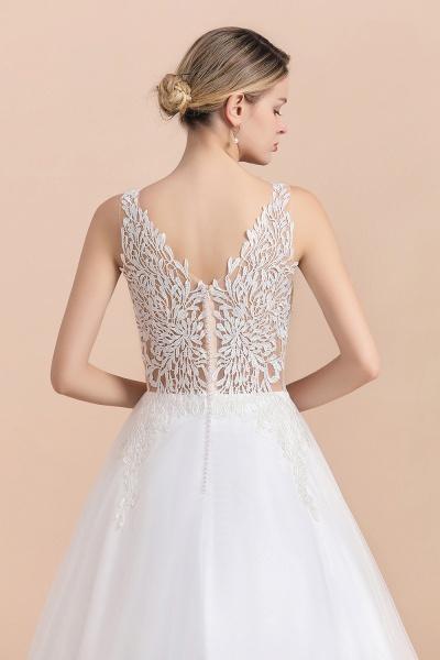 A-line Straps Tulle Appliques V-Neck Lace Boho Wedding Dress_11