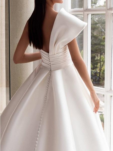 A-Line Wedding Dresses One Shoulder Sweep \ Brush Train Satin Short Sleeve Plus Size Modern_3