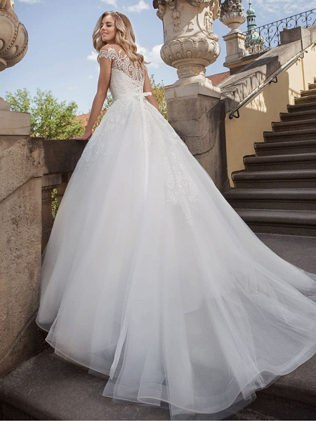 Lt7901038 Beads A-line White Boho Beach Wedding Dress_2