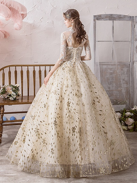 Ball Gown Wedding Dresses Off Shoulder Floor Length Lace Tulle Polyester 3\4 Length Sleeve Country Wedding Dress in Color_3