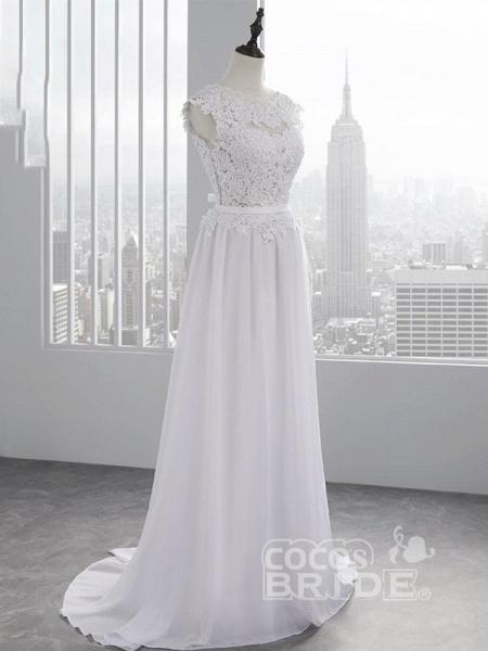 Cheap Jewel Backless Lace A-Line Wedding Dresses_6