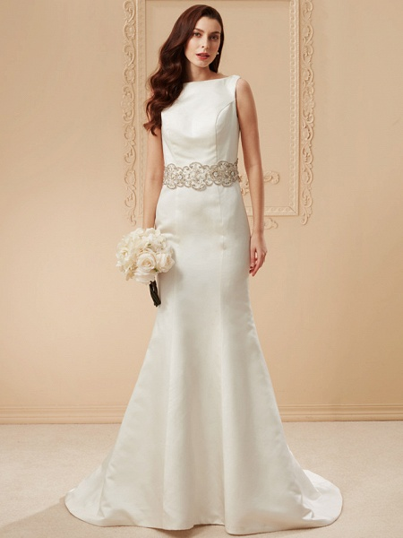 Mermaid \ Trumpet Wedding Dresses Bateau Neck Cathedral Train Satin Regular Straps Vintage Inspired_14