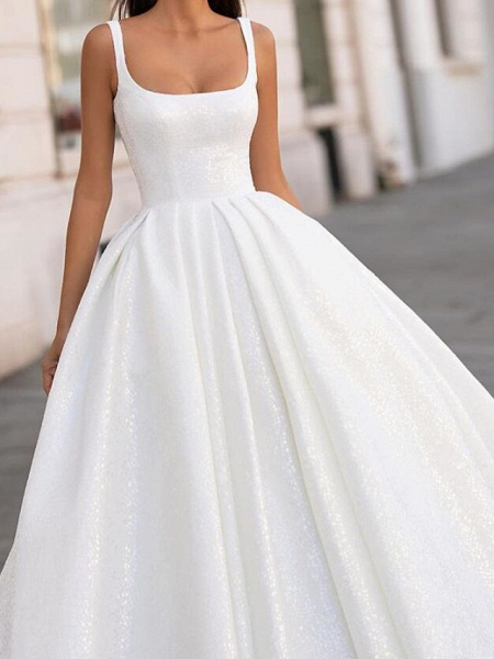 Ball Gown Spaghetti Strap Scoop Neck Court Train Polyester Sleeveless Country Plus Size Wedding Dresses_2