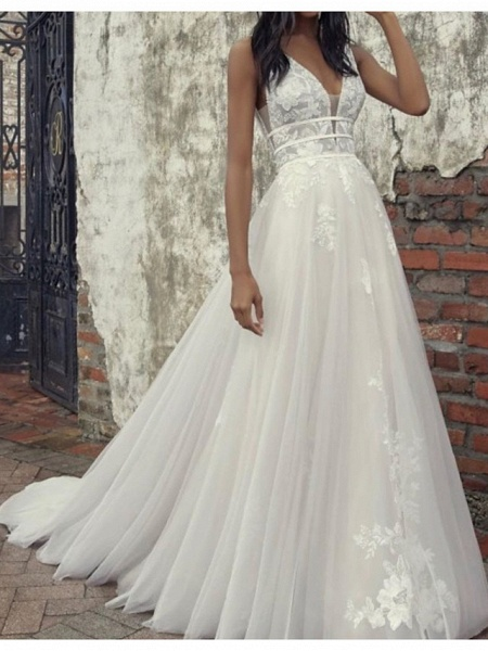 A-Line Wedding Dresses Plunging Neck Court Train Tulle Sleeveless Country Plus Size_1