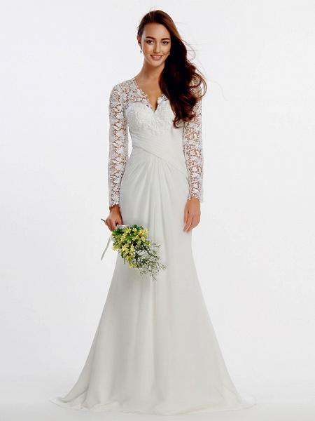 Sheath \ Column Wedding Dresses V Neck Sweep \ Brush Train Chiffon Floral Lace Long Sleeve Romantic Boho Little White Dress Illusion Sleeve_2
