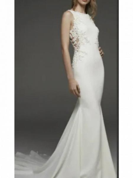 Mermaid \ Trumpet Wedding Dresses Jewel Neck Court Train Lace Charmeuse Regular Straps Formal Plus Size_2