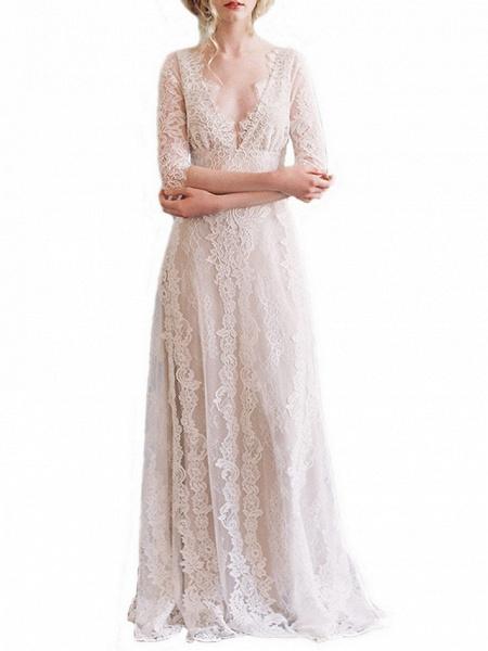 A-Line Wedding Dresses V Neck Floor Length Lace Tulle Half Sleeve Formal Boho Plus Size Illusion Sleeve_2