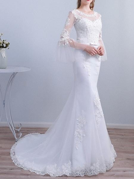Mermaid \ Trumpet Wedding Dresses Jewel Neck Sweep \ Brush Train Lace Long Sleeve Beach Illusion Sleeve_2