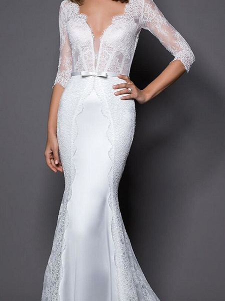 Mermaid \ Trumpet Wedding Dresses V Neck Sweep \ Brush Train Lace Satin Half Sleeve Country Plus Size_3