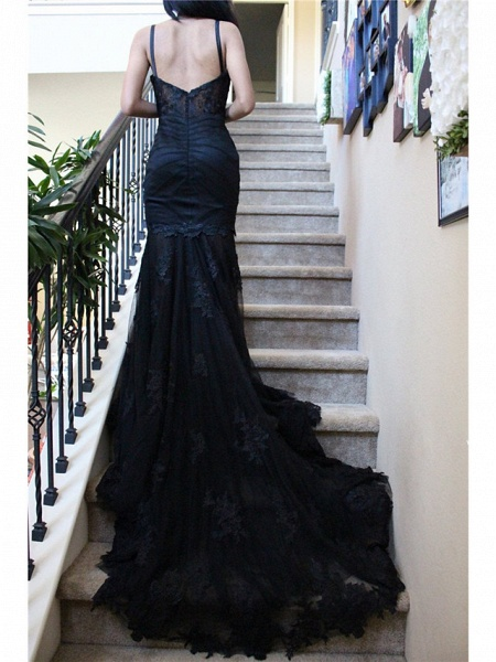 Mermaid \ Trumpet Sweetheart Neckline Chapel Train Lace Satin Tulle Spaghetti Strap Black Wedding Dresses_2