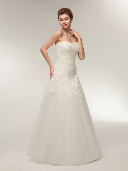 A-Line Wedding Dresses Strapless Floor Length Lace Tulle Strapless Formal Illusion Detail_4