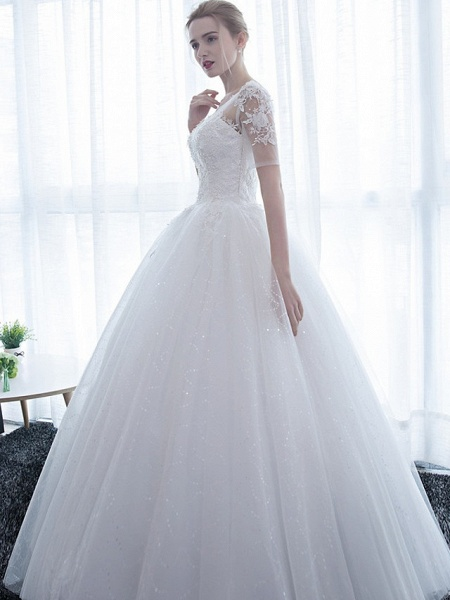 Ball Gown Wedding Dresses Scoop Neck Floor Length Satin Lace Over Tulle Half Sleeve Simple Backless_4