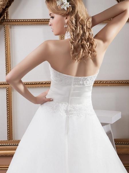 A-Line High Neck Court Train Lace Satin Tulle Regular Straps Wedding Dresses_6