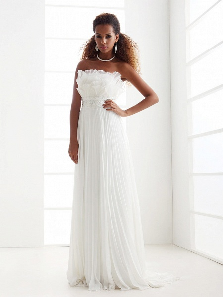 Sheath \ Column Wedding Dresses Scalloped-Edge Sweep \ Brush Train Chiffon Sleeveless_5