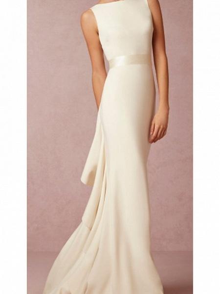 Mermaid \ Trumpet Wedding Dresses Jewel Neck Sweep \ Brush Train Lace Regular Straps Formal Plus Size_1