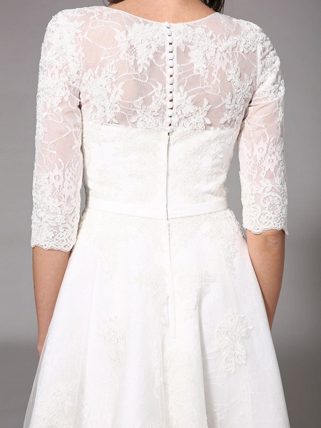 A-Line Wedding Dresses V Neck Knee Length All Over Lace 3\4 Length Sleeve Formal Casual Vintage Cute Illusion Sleeve_9