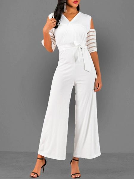 Women's V Neck Blue White Black Slim Jumpsuit_2