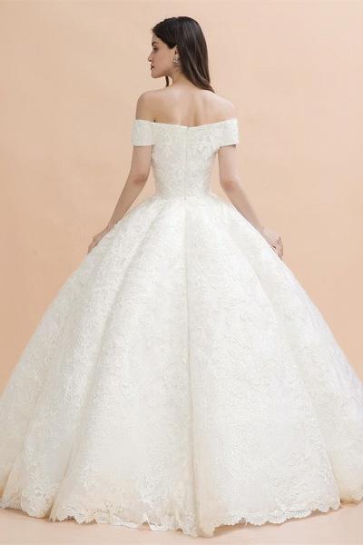 Elegant Off-the-shoulder Appliques Ball Gown Wedding Dresses_3