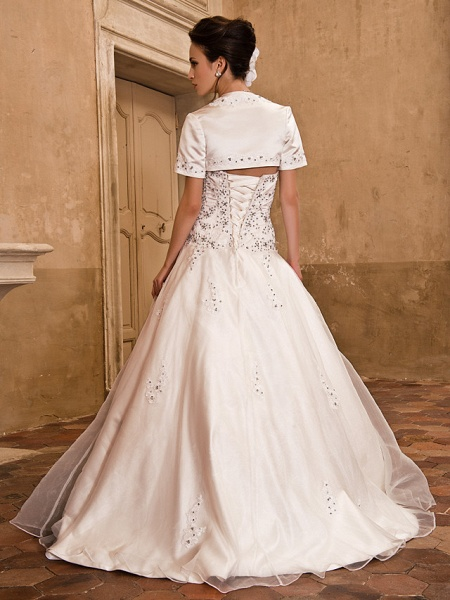 Ball Gown Wedding Dresses Strapless Floor Length Satin Short Sleeve Sparkle & Shine_4