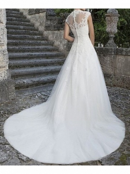 A-Line Wedding Dresses V Neck Sweep \ Brush Train Tulle Cap Sleeve Vintage Illusion Detail_2