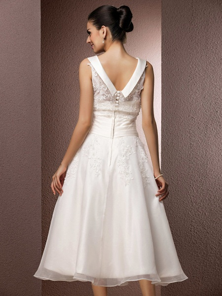 A-Line Wedding Dresses Bateau Neck Tea Length Organza Floral Lace Regular Straps Formal Casual Illusion Detail_6