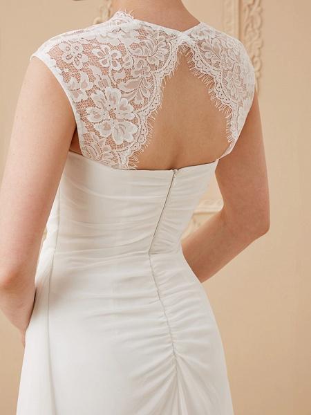 Sheath \ Column Wedding Dresses Square Neck Floor Length Chiffon Lace Cap Sleeve Simple Illusion Detail_7