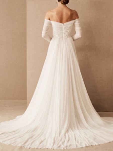 A-Line Wedding Dresses Off Shoulder Sweep \ Brush Train Chiffon 3\4 Length Sleeve Formal Plus Size_2