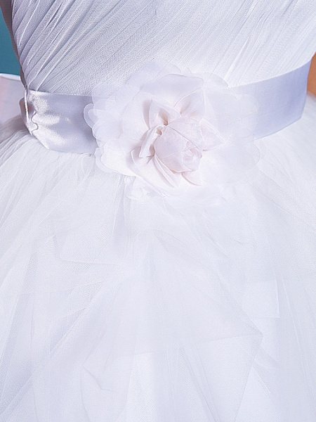 Ball Gown Wedding Dresses One Shoulder Court Train Tulle Sleeveless_10