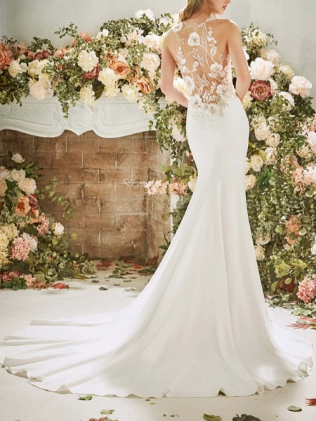 Mermaid \ Trumpet Wedding Dresses Jewel Neck Court Train Stretch Satin Sleeveless Vintage Sexy Wedding Dress in Color See-Through Backless_2