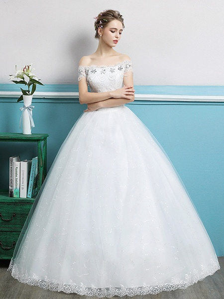 Ball Gown Wedding Dresses Off Shoulder Floor Length Lace Tulle Polyester Sleeveless Romantic_1