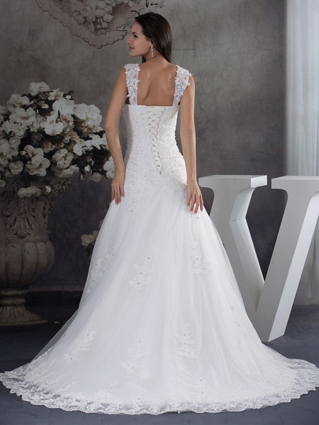 A-Line Sweetheart Neckline Chapel Train Lace Tulle Spaghetti Strap Wedding Dresses_3