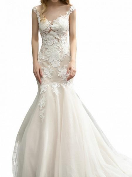 Mermaid \ Trumpet Wedding Dresses V Neck Sweep \ Brush Train Lace Tulle Sleeveless Formal Illusion Detail_4