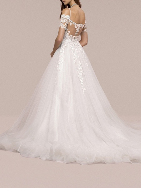 A-Line Wedding Dresses V Neck Sweep \ Brush Train Lace Short Sleeve Formal_2