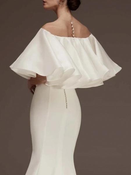 Sheath \ Column Wedding Dresses Jewel Neck Court Train Satin Half Sleeve Romantic Plus Size_2