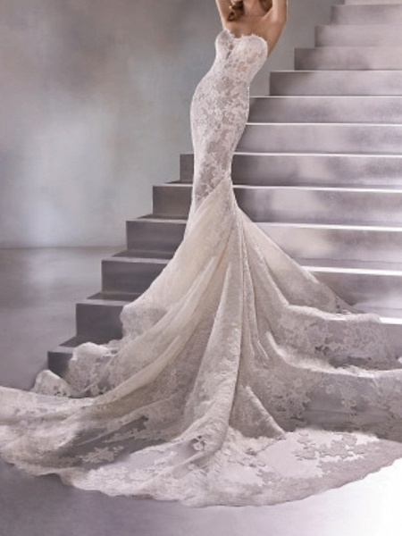 Mermaid \ Trumpet Wedding Dresses Sweetheart Neckline Sweep \ Brush Train Lace Sleeveless Sexy Plus Size_3