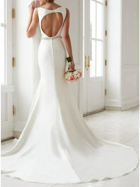 Mermaid \ Trumpet Wedding Dresses Jewel Neck Sweep \ Brush Train Satin Regular Straps Simple Elegant_2