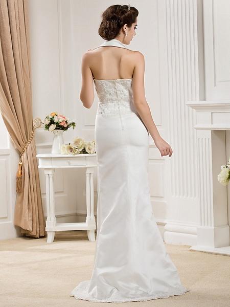 Mermaid \ Trumpet Halter Neck Court Train Satin Sleeveless Wedding Dresses_8