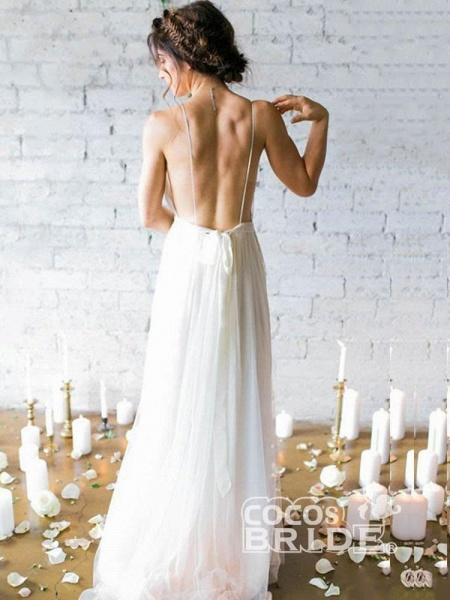 Spaghetti Straps V-neck A-line Sexy Backless Floor Length Wedding Dresses_2