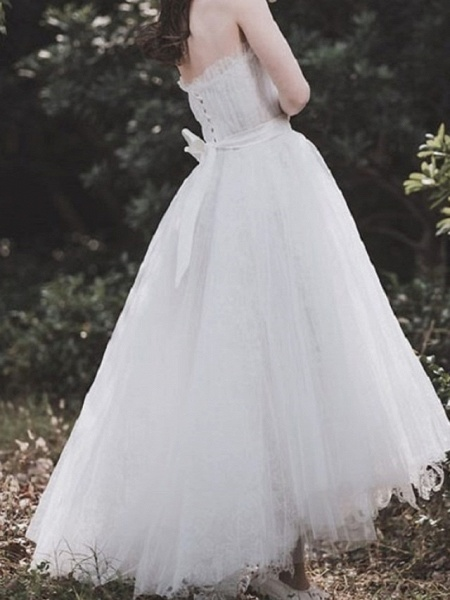 A-Line Wedding Dresses Strapless Asymmetrical Tulle Sleeveless Country_2