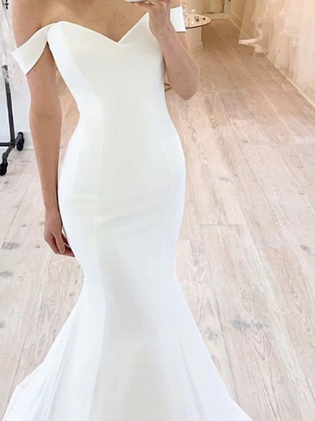 Mermaid \ Trumpet Wedding Dresses Off Shoulder Floor Length Satin Short Sleeve Sexy_2