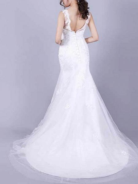 Mermaid \ Trumpet Wedding Dresses Jewel Neck Floor Length Lace Sleeveless Casual Plus Size_3
