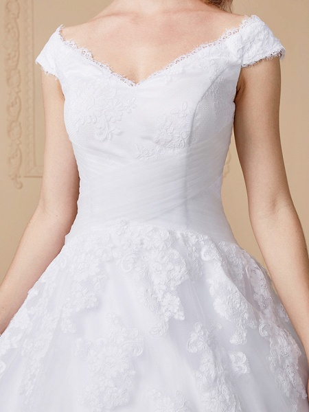 Ball Gown V Neck Cathedral Train Lace Tulle Cap Sleeve Glamorous Illusion Detail Wedding Dresses_6