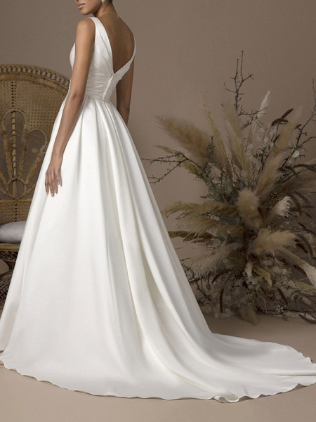 A-Line Wedding Dresses V Neck Sweep \ Brush Train Satin Sleeveless Formal_2