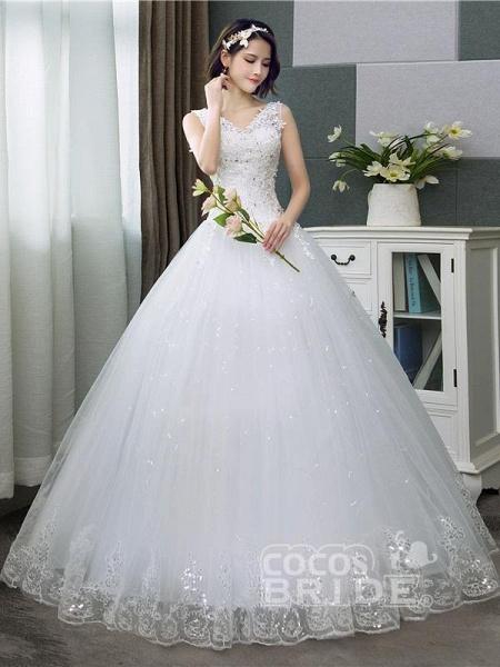V-Neck Lace Tank Sleeveless Floral Print Ball Gown Wedding Dress_2